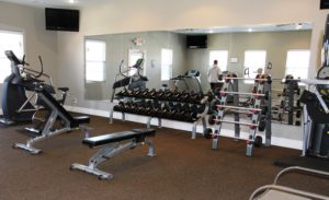 Full view of fitness center.
