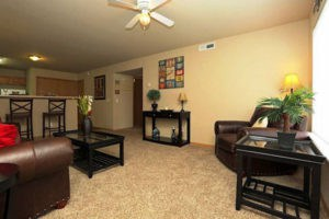 Carpeted living room at Pines at Southridge Apartments