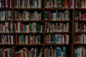 book shelf in a library